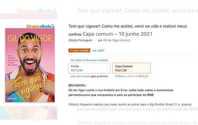 Site com a venda do livro de Gil do Vigor