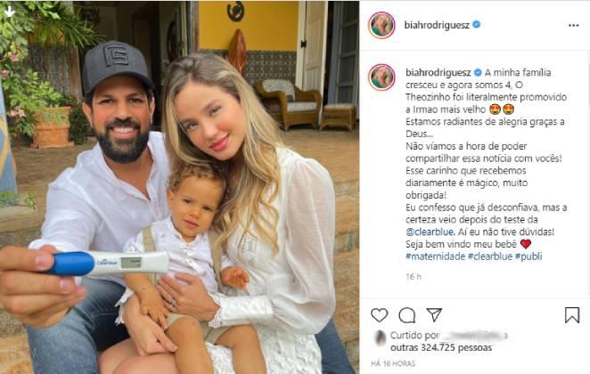 post de biah rodrigues no instagram anunciando a segunda gravidez.