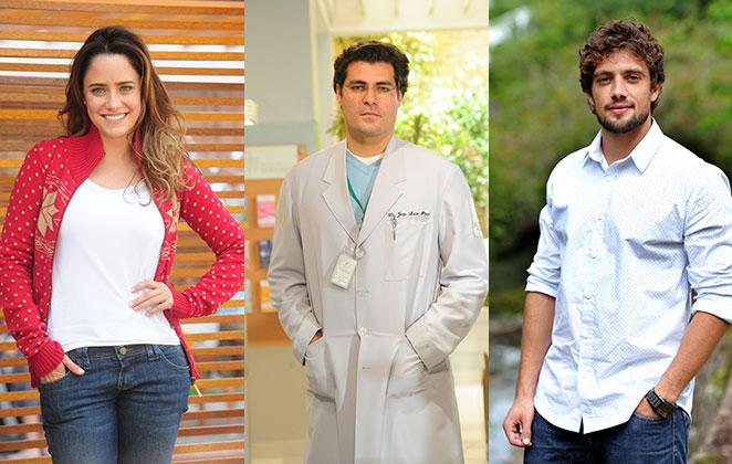 Fernanda Vasconcellos, Thiago Lacerda e Rafael Cardoso na novela A Vida da Gente, da Rede Globo