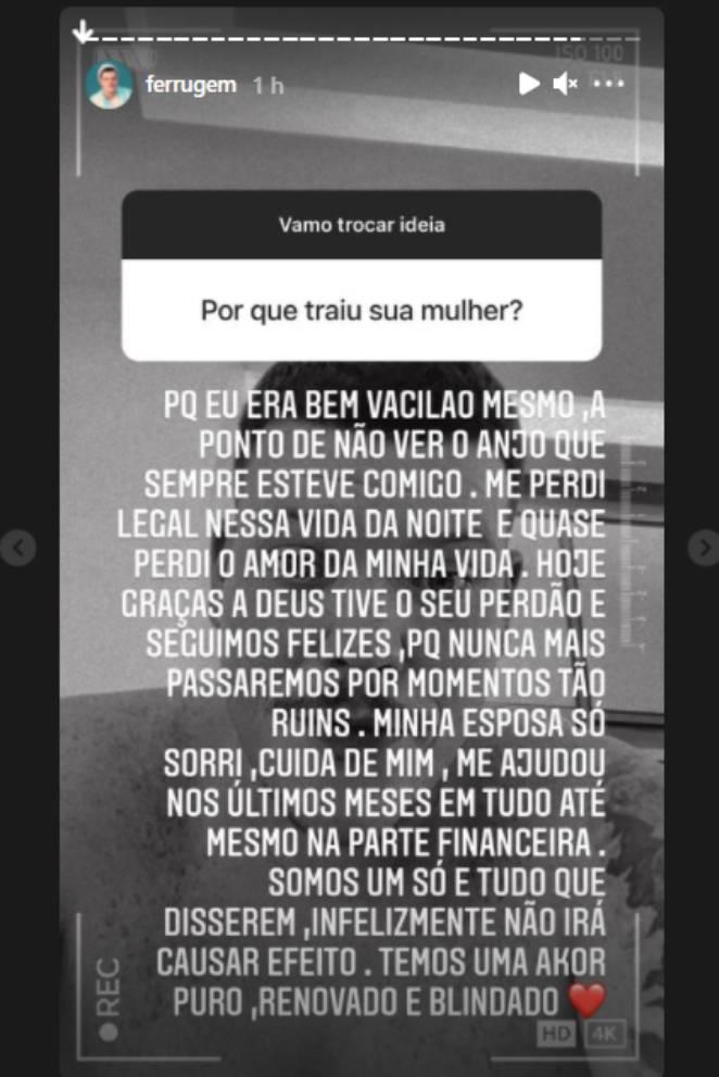 Ferrugem respondendo fã nos stories do Instagram sobre traição à esposa Thais Vasconcellos