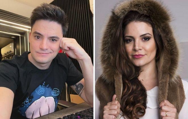 Fotomontagem com selfie de Felipe Neto e Renata Del Bianco
