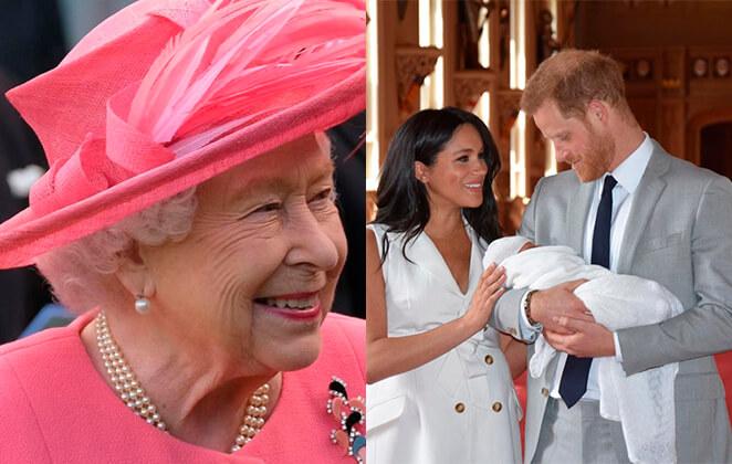 fotomontagem-rainha-elizabeth-sorrindo-e-meghan-markle-principe-harry-com-archie-no-colo