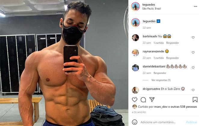 Matheus Guedes tem um corpo musculoso e sempre posta fotos nas redes sociais
