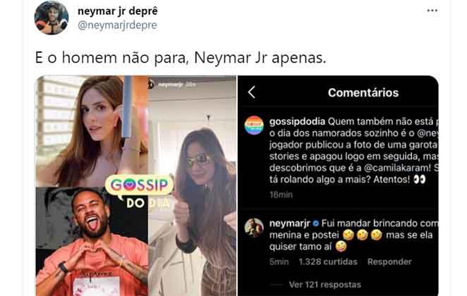No sábado (12), Dia dos Namorados, Neymar compartilhou uma foto um tanto intrigante em suas redes sociais. Primeiramente o jogador de futebol postou uma imagem de Camila Karam. Momentos depois, inesperadamente, apagou.