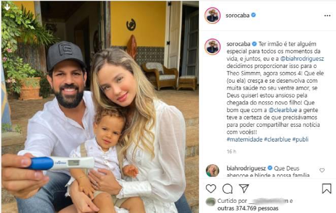 post de sorocaba no instagram anunciando a segunda gravidez de biah rodrigues
