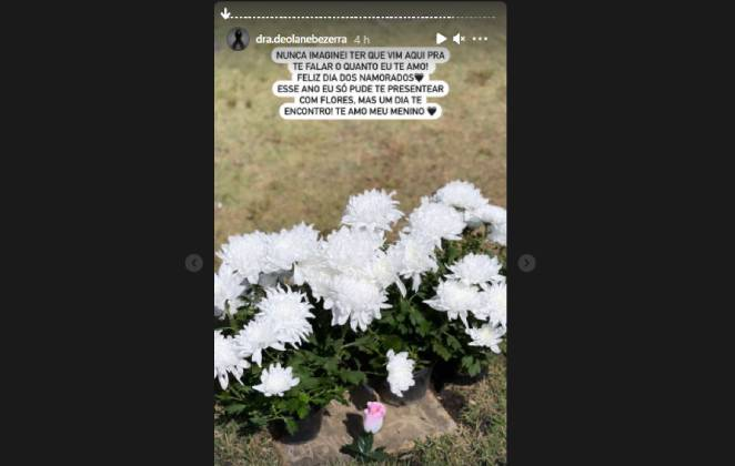 stories de deloane bezerra visitando tumulo de mc kevin no dia dos namorados e deixando homenagem