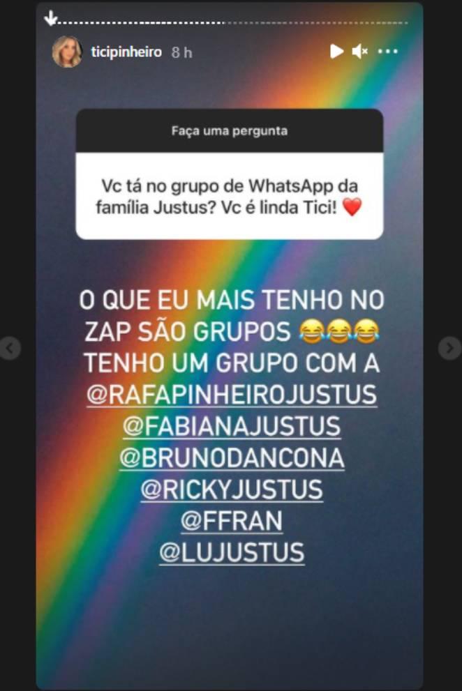 Resposta de Ticiane Pinheiro a pergunta nos stories do Instagram sobre grupo de Whatssapp com a família de Roberto Justus