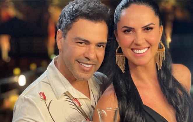 Zezé Di Camargo brinda com Gracielle Lacerda